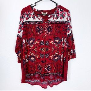 Lucky Brand 2X Red Print Henley Blouse Top Tee
